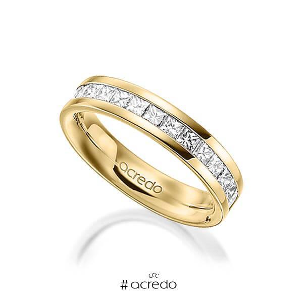 klassischer Memoire-Trauring/Ehering in außen Gelbgold 585 , innen Gelbgold 585 halbausgefasst mit zus. 1,05 ct. Prinzess-Diamant tw, si von acredo