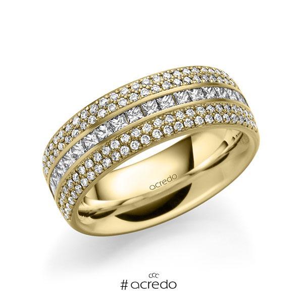 klassischer Memoire-Trauring/Ehering in außen Gelbgold 585 , innen Gelbgold 585 halbausgefasst mit zus. 1,12 ct. Brillant & Prinzess-Diamant tw, si von acredo