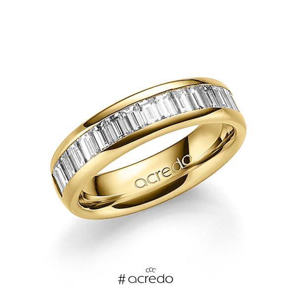 klassischer Memoire-Trauring/Ehering in außen Gelbgold 585 , innen Gelbgold 585 halbausgefasst mit zus. 1,36 ct. Baguette-Diamant tw, vs von acredo