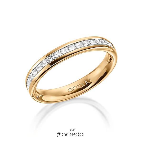 klassischer Memoire-Trauring/Ehering in außen Roségold 585 , innen Roségold 585 halbausgefasst mit zus. 0,57 ct. Prinzess-Diamant tw, si von acredo