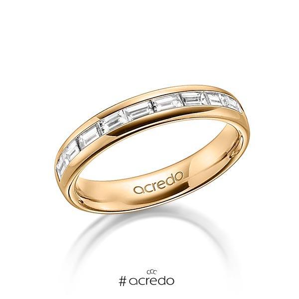 klassischer Memoire-Trauring/Ehering in außen Roségold 585 , innen Roségold 585 halbausgefasst mit zus. 0,8 ct. Baguette-Diamant tw, vs von acredo