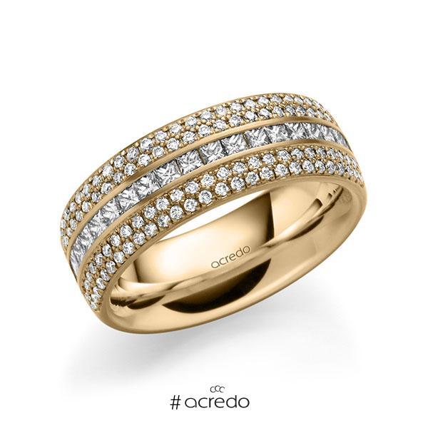 klassischer Memoire-Trauring/Ehering in außen Roségold 585 , innen Roségold 585 halbausgefasst mit zus. 1,12 ct. Brillant & Prinzess-Diamant tw, si von acredo