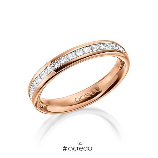 klassischer Memoire-Trauring/Ehering in außen Rotgold 585 , innen Rotgold 585 halbausgefasst mit zus. 0,57 ct. Prinzess-Diamant tw, si von acredo