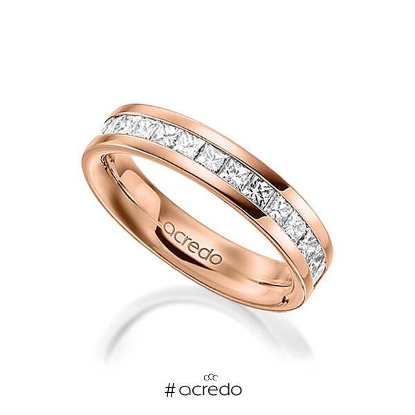klassischer Memoire-Trauring/Ehering in außen Rotgold 585 , innen Rotgold 585 halbausgefasst mit zus. 1,05 ct. Prinzess-Diamant tw, si von acredo