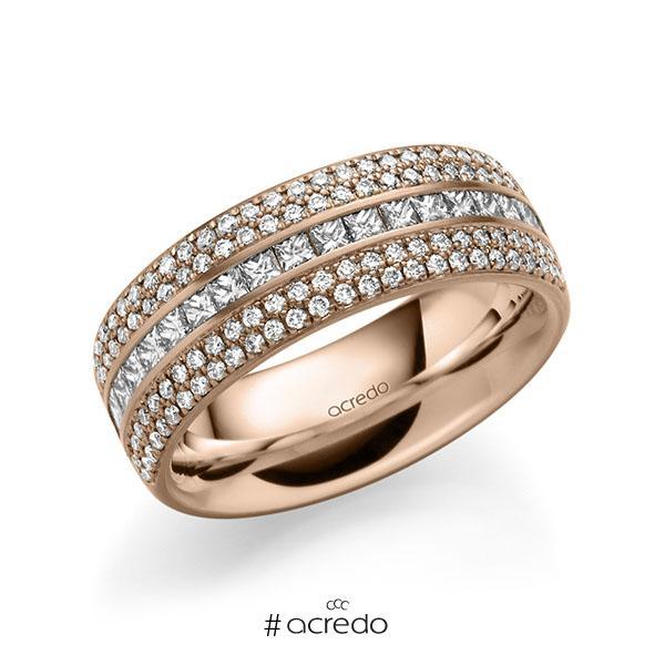 klassischer Memoire-Trauring/Ehering in außen Rotgold 585 , innen Rotgold 585 halbausgefasst mit zus. 1,12 ct. Brillant & Prinzess-Diamant tw, si von acredo