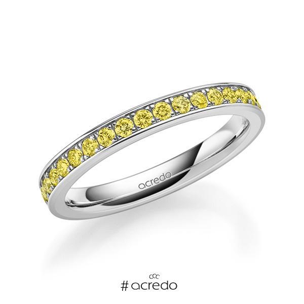 klassischer Memoire-Trauring/Ehering in außen Weißgold 585 , innen Weißgold 585 halbausgefasst mit zus. 0,34 ct. Brillant gelb von acredo
