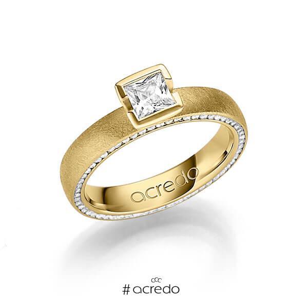 klassischer Memoire-Trauring/Ehering in Gelbgold 585 vollausgefasst mit 0,3 ct. + zus. 0,275 ct. Prinzess-Diamant & Brillant tw, vs tw, si von acredo