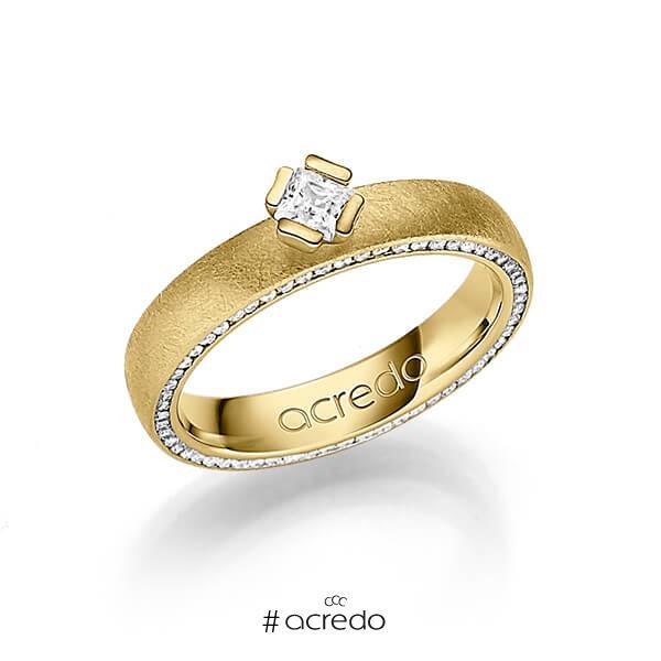 klassischer Memoire-Trauring/Ehering in Gelbgold 585 vollausgefasst mit zus. 0,475 ct. Prinzess-Diamant & Brillant tw, si von acredo