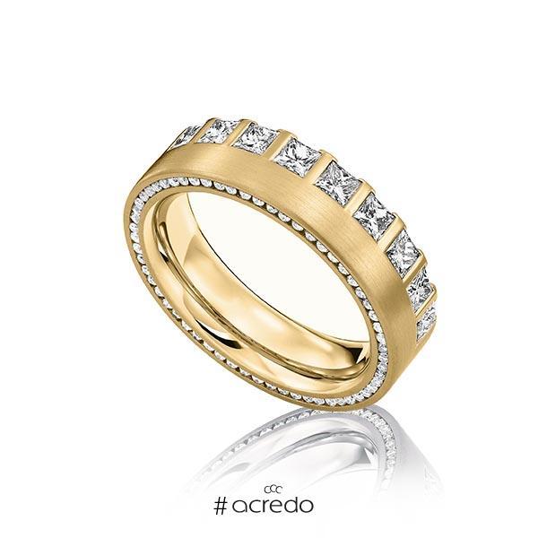 klassischer Memoire-Trauring/Ehering in Gelbgold 585 vollausgefasst mit zus. 1,285 ct. Prinzess-Diamant & Brillant tw, vs von acredo