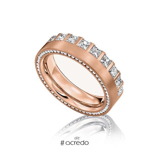 klassischer Memoire-Trauring/Ehering in Rotgold 585 vollausgefasst mit zus. 1,285 ct. Prinzess-Diamant & Brillant tw, vs von acredo