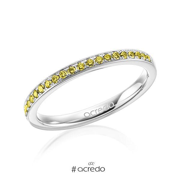 klassischer Memoire-Trauring/Ehering in Weißgold 585 halbausgefasst mit zus. 0,21 ct. Brillant gelb von acredo