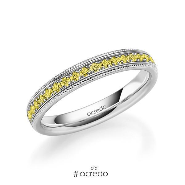 klassischer Memoire-Trauring/Ehering in Weißgold 585 halbausgefasst mit zus. 0,285 ct. Brillant gelb von acredo