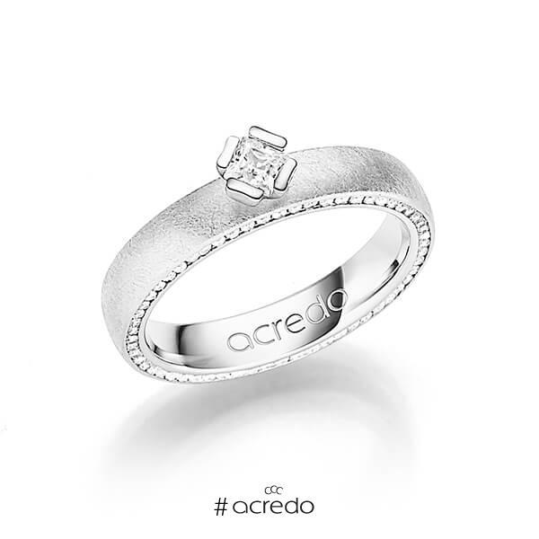 klassischer Memoire-Trauring/Ehering in Weißgold 585 vollausgefasst mit zus. 0,475 ct. Brillant & Prinzess-Diamant tw, si von acredo