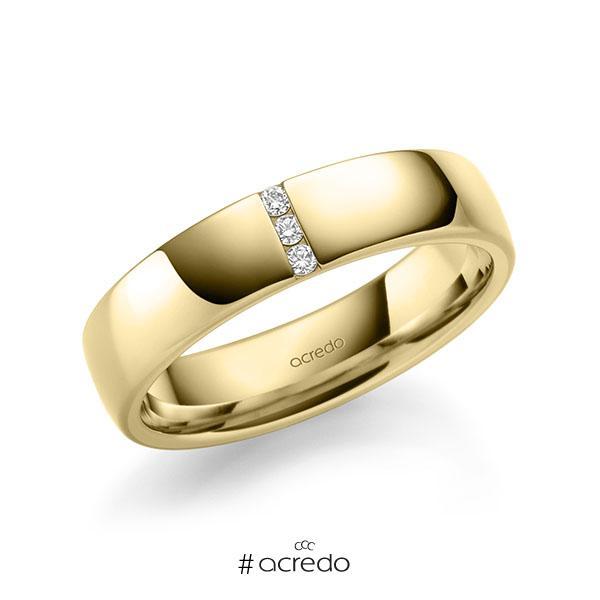 klassischer Trauring/Ehering in außen Gelbgold 585 , innen Gelbgold 585 mit zus. 0,06 ct. Brillant tw, si von acredo
