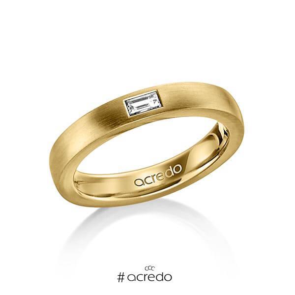 klassischer Trauring/Ehering in außen Gelbgold 585 , innen Gelbgold 585 mit zus. 0,15 ct. Baguette-Diamant tw, vs von acredo