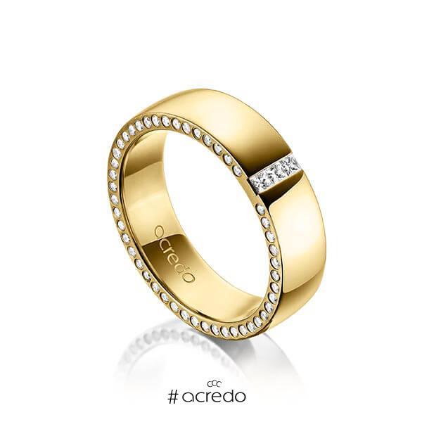 klassischer Trauring/Ehering in außen Gelbgold 585 , innen Gelbgold 585 mit zus. 0,325 ct. Prinzess-Diamant & Brillant tw, si von acredo