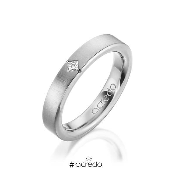 klassischer Trauring/Ehering in außen Graugold 585 , innen Graugold 585 mit zus. 0,05 ct. Prinzess-Diamant tw, si von acredo