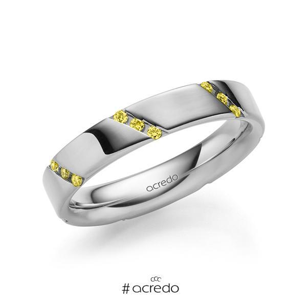 klassischer Trauring/Ehering in außen Graugold 585 , innen Graugold 585 mit zus. 0,21 ct. Brillant gelb von acredo