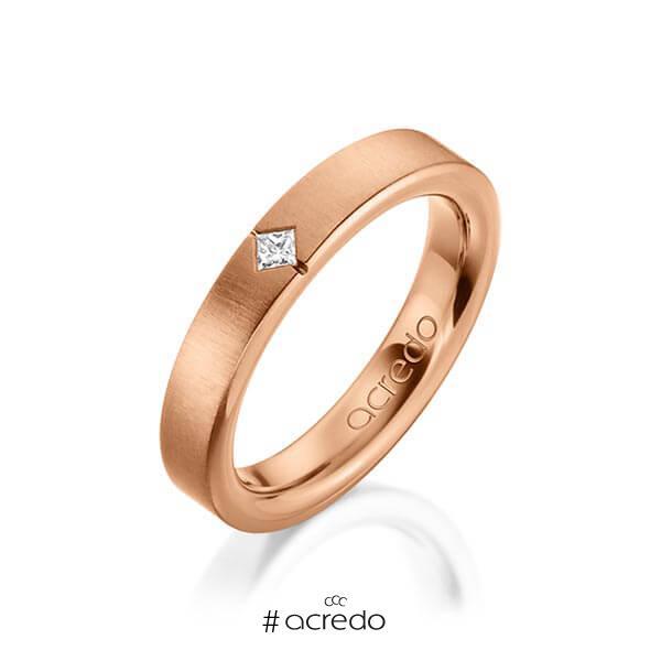 klassischer Trauring/Ehering in außen Rotgold 585 , innen Rotgold 585 mit zus. 0,05 ct. Prinzess-Diamant tw, si von acredo