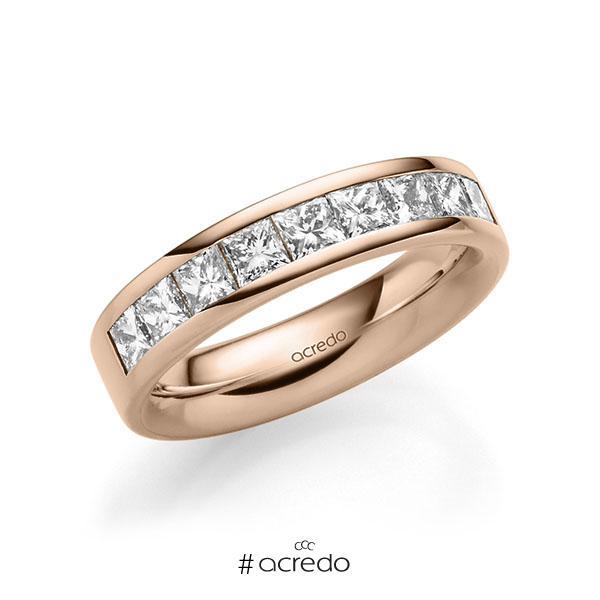 klassischer Trauring/Ehering in außen Rotgold 585 , innen Rotgold 585 mit zus. 1,2 ct. Prinzess-Diamant tw, si von acredo
