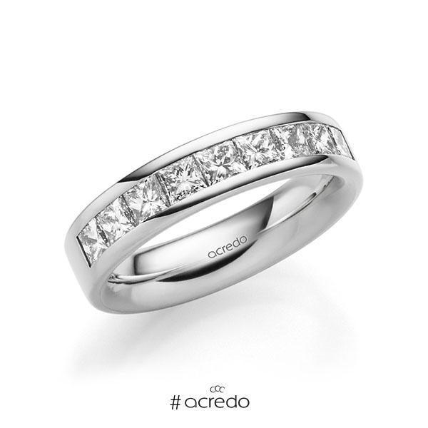 klassischer Trauring/Ehering in außen Weißgold 585 , innen Weißgold 585 mit zus. 1,2 ct. Prinzess-Diamant tw, si von acredo