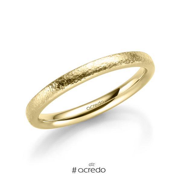 klassischer Trauring/Ehering in Gelbgold 585 crushed Struktur von acredo