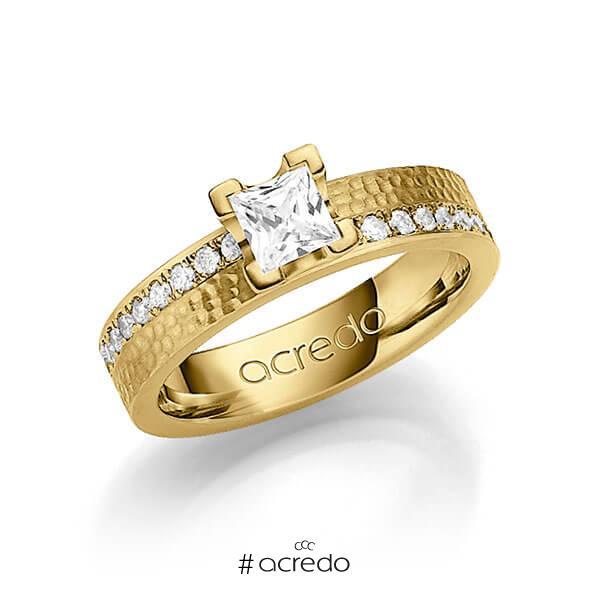 klassischer Trauring/Ehering in Gelbgold 585 gehämmert Struktur mit 0,5 ct. + zus. 0,54 ct. Prinzess-Diamant & Brillant tw, vs tw, si von acredo