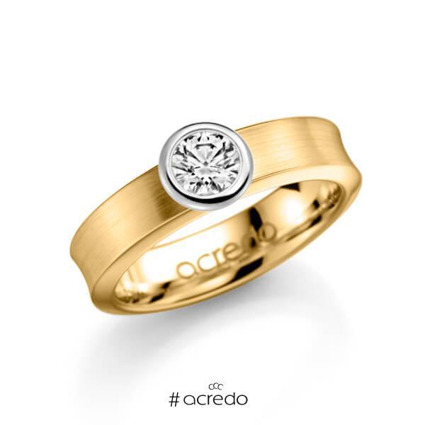 klassischer Trauring/Ehering in Gelbgold 585 mit 0,5 ct. Brillant w, si von acredo