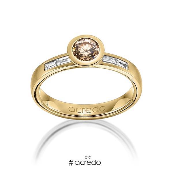 klassischer Trauring/Ehering in Gelbgold 585 mit 0,5 ct. + zus. 0,24 ct. Brillant & Baguette-Diamant cognac tw, vs von acredo