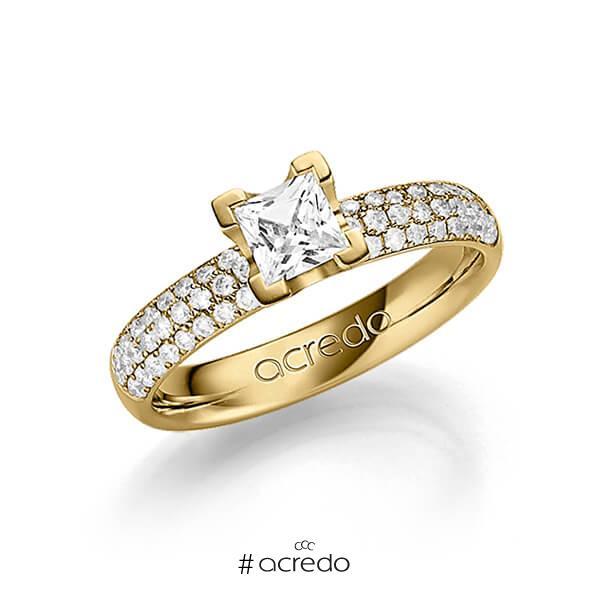 klassischer Trauring/Ehering in Gelbgold 585 mit 0,5 ct. + zus. 0,432 ct. Prinzess-Diamant & Brillant tw, vs tw, si von acredo