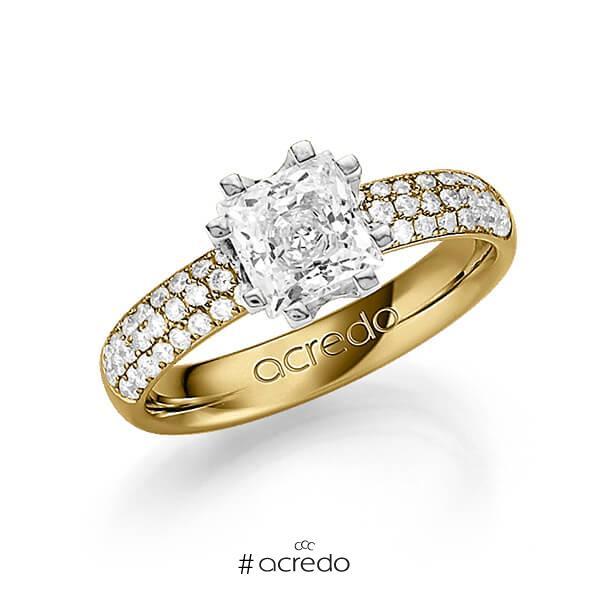 klassischer Trauring/Ehering in Gelbgold 585 mit 1 ct. + zus. 0,432 ct. Prinzess-Diamant & Brillant tw, vs tw, si von acredo
