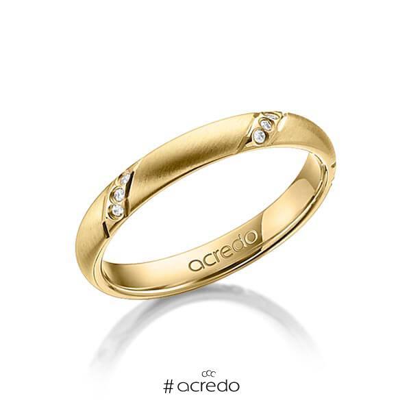 klassischer Trauring/Ehering in Gelbgold 585 mit zus. 0,075 ct. Brillant tw, si von acredo