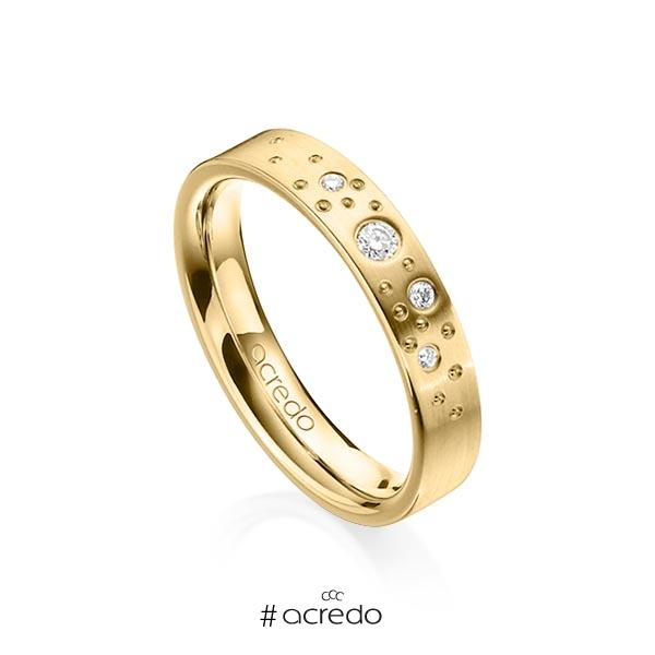 klassischer Trauring/Ehering in Gelbgold 585 mit zus. 0,081 ct. Brillant tw, si von acredo