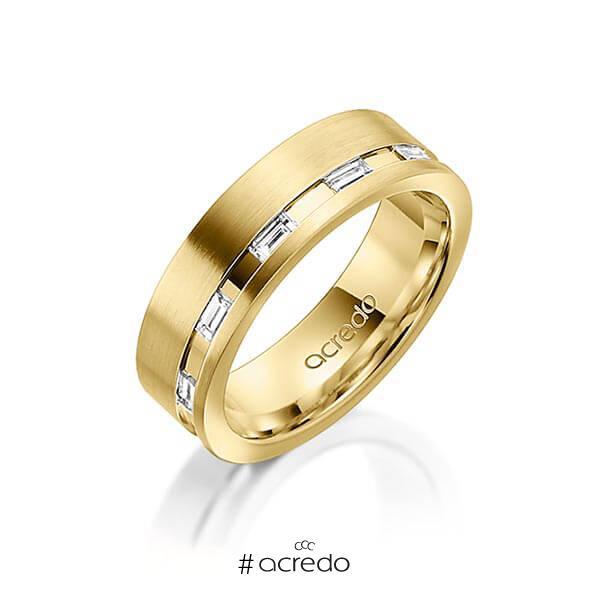klassischer Trauring/Ehering in Gelbgold 585 mit zus. 0,25 ct. Baguette-Diamant tw, vs von acredo