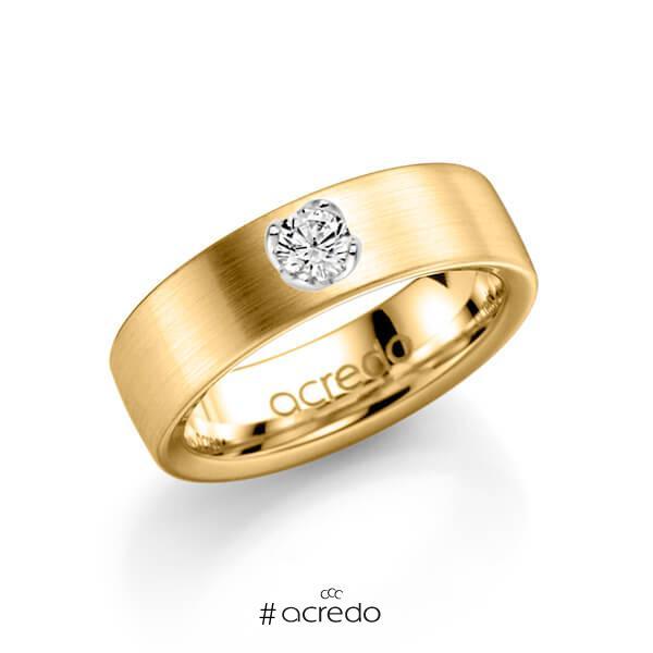 klassischer Trauring/Ehering in Gelbgold 585 mit zus. 0,25 ct. Brillant tw, si von acredo