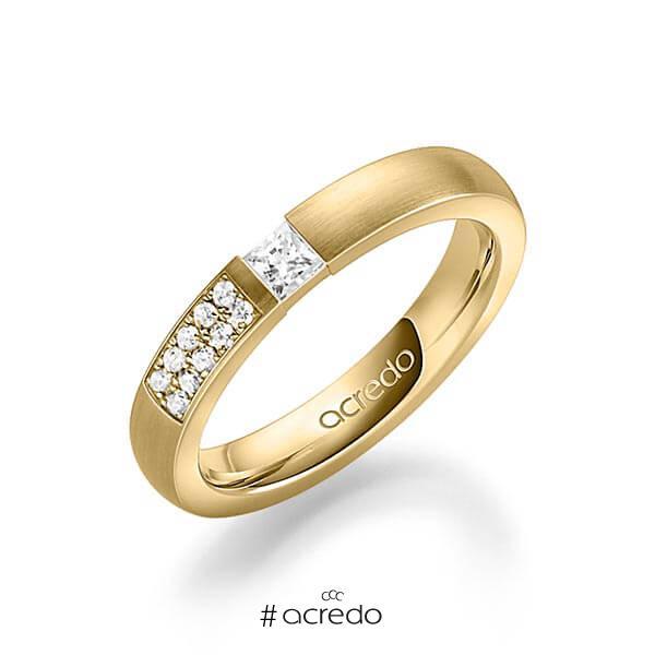 klassischer Trauring/Ehering in Gelbgold 585 mit zus. 0,25 ct. Prinzess-Diamant & Brillant tw, si von acredo