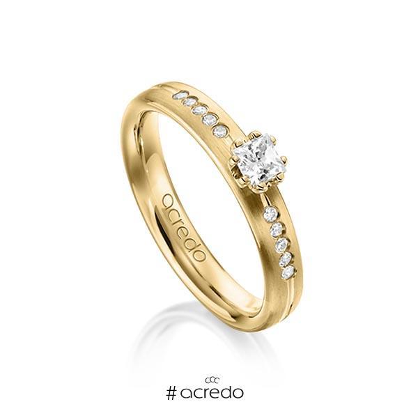 klassischer Trauring/Ehering in Gelbgold 585 mit zus. 0,33 ct. Prinzess-Diamant & Brillant tw, si von acredo