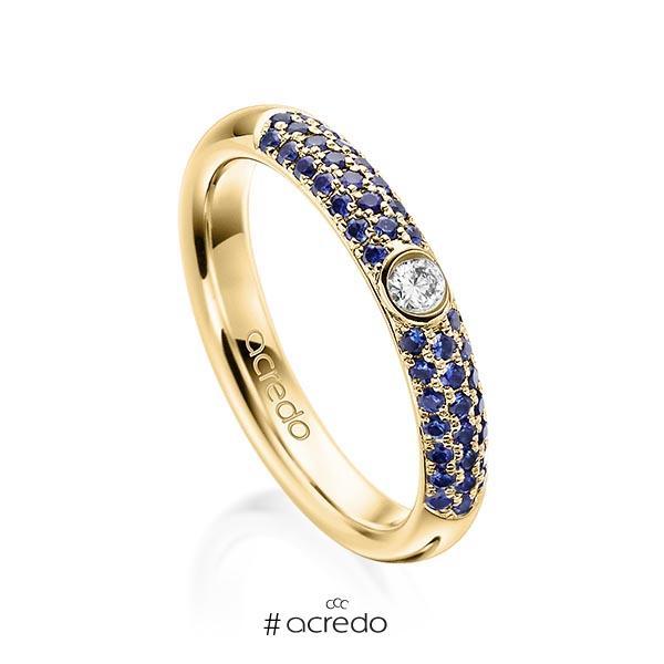 klassischer Trauring/Ehering in Gelbgold 585 mit zus. 0,416 ct. Brillant Saphir Blau (A 10) tw, si von acredo