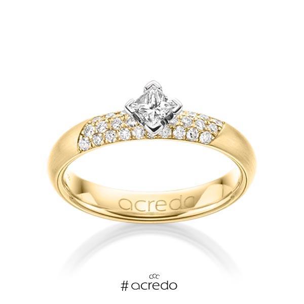 klassischer Trauring/Ehering in Gelbgold 585 mit zus. 0,52 ct. Brillant & Prinzess-Diamant tw, si von acredo