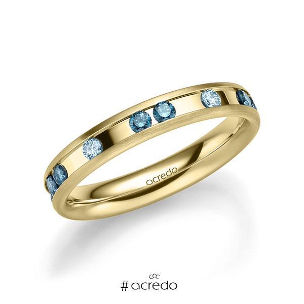 klassischer Trauring/Ehering in Gelbgold 585 mit zus. 0,6 ct. Brillant iceblue oceanblue von acredo