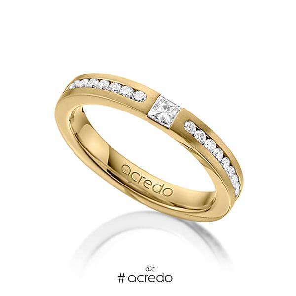 klassischer Trauring/Ehering in Gelbgold 585 mit zus. 0,72 ct. Brillant & Prinzess-Diamant tw, si von acredo