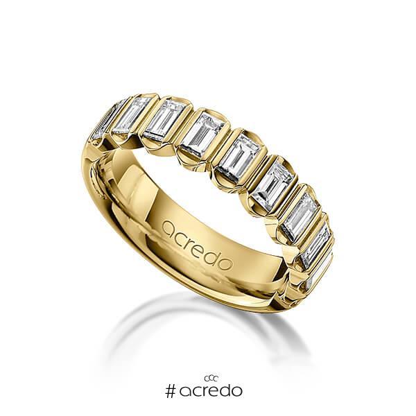 klassischer Trauring/Ehering in Gelbgold 585 mit zus. 1,2 ct. Baguette-Diamant tw, vs von acredo