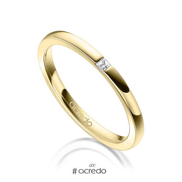 klassischer Trauring/Ehering in Gelbgold 750 mit zus. 0,03 ct. Prinzess-Diamant tw, si von acredo