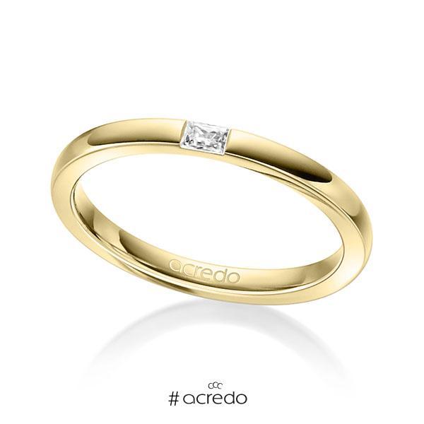 klassischer Trauring/Ehering in Gelbgold 750 mit zus. 0,07 ct. Baguette-Diamant tw, vs von acredo