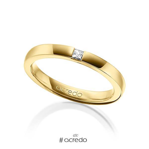 klassischer Trauring/Ehering in Gelbgold 750 mit zus. 0,07 ct. Prinzess-Diamant tw, si von acredo