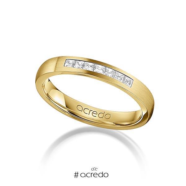klassischer Trauring/Ehering in Gelbgold 750 mit zus. 0,21 ct. Prinzess-Diamant tw, si von acredo