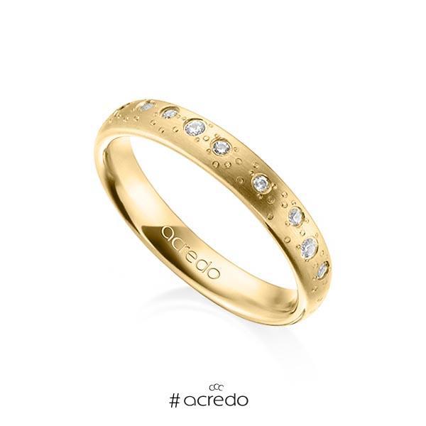 klassischer Trauring/Ehering in Gelbgold 750 mit zus. 0,221 ct. Brillant tw, si von acredo