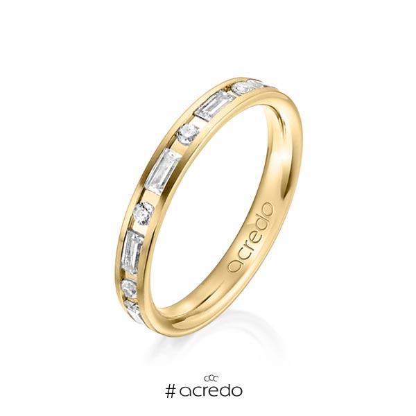klassischer Trauring/Ehering in Gelbgold 750 mit zus. 0,765 ct. Brillant & Baguette-Diamant tw, si tw, vs von acredo