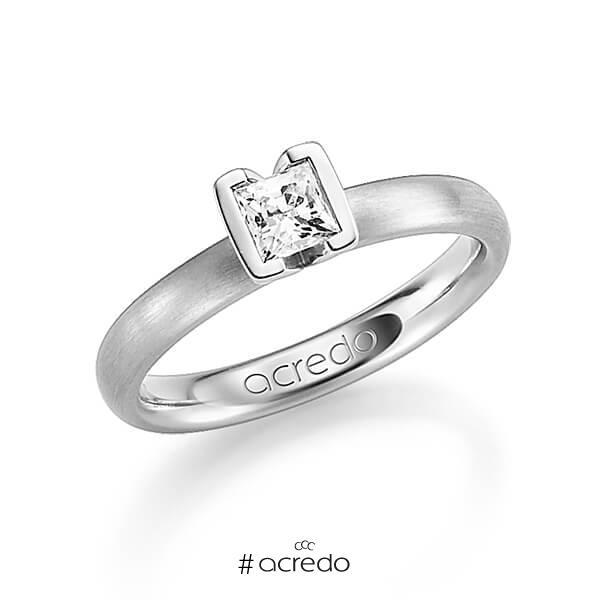 klassischer Trauring/Ehering in Graugold 585 mit 0,4 ct. Prinzess-Diamant tw, vs von acredo