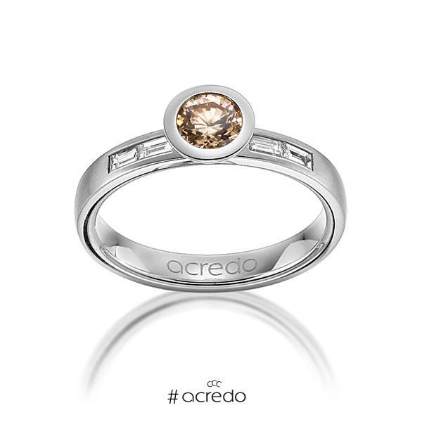 klassischer Trauring/Ehering in Graugold 585 mit 0,5 ct. + zus. 0,24 ct. Brillant & Baguette-Diamant cognac tw, vs von acredo